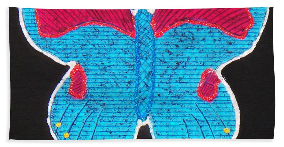Drawing Bath Towel featuring the mixed media Butterfly by Sergey Bezhinets