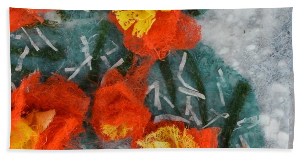 Dryer Sheets Bath Towel featuring the mixed media Cactus Flowers by Charla Van Vlack