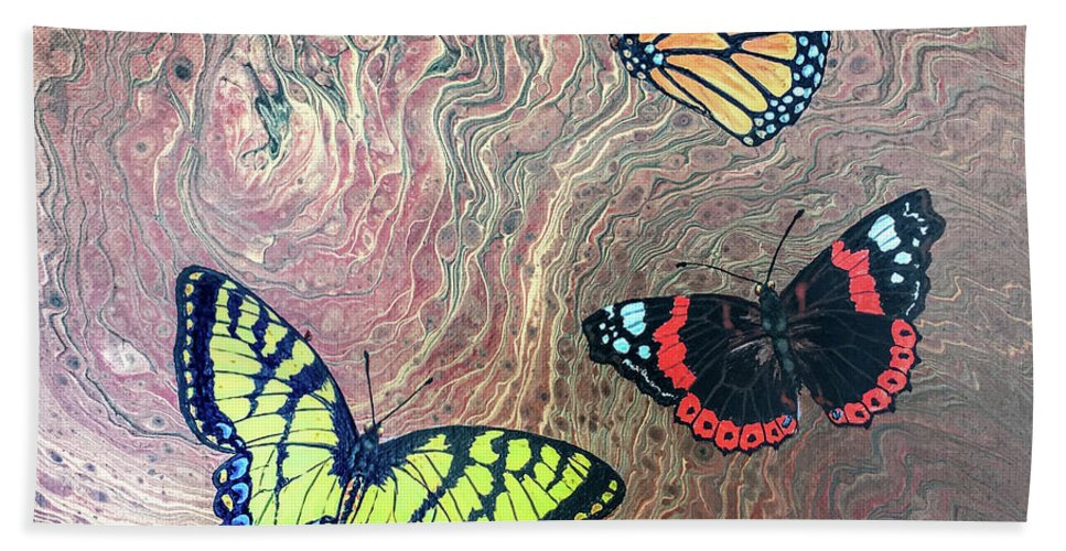 Butterflies Bath Towel featuring the painting California Butterflies by Lucy Arnold