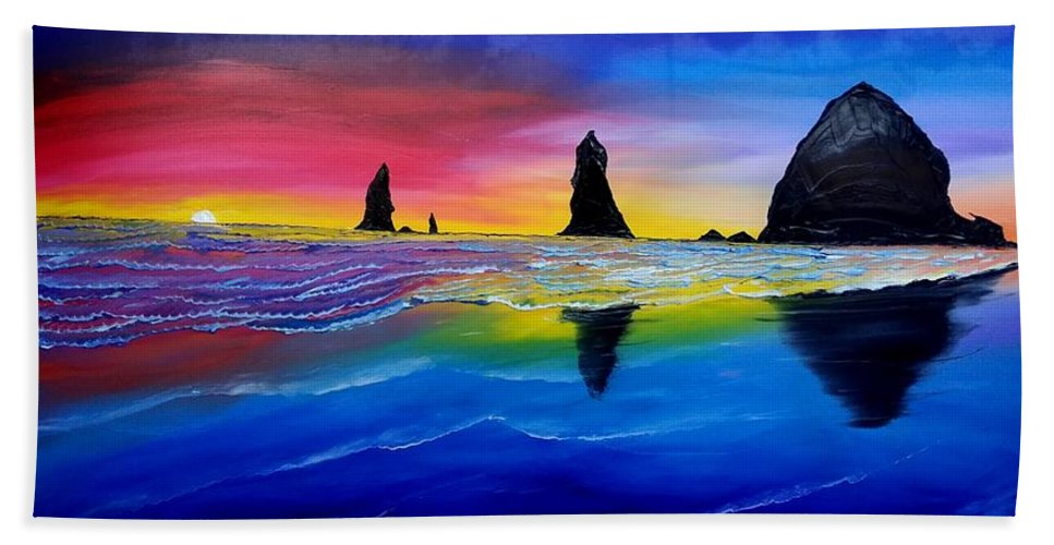 Bath Towel featuring the painting Cannon Beach Red Sunset #1 by Dunbar's Local Art Boutique