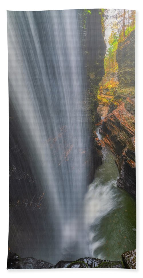 Waterfall Hand Towel featuring the photograph Canyon Cascade by Darren White