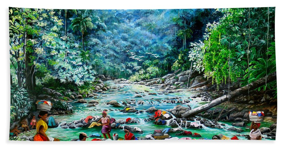 Land Scape Painting River Painting Mountain Painting Rain Forest Painting Washerwomen Painting Laundry Painting Caribbean Painting Tropical Painting Village Washer Women At A Mountain River In Trinidad And Tobago Bath Sheet featuring the painting Caribbean Wash Day by Karin Dawn Kelshall- Best