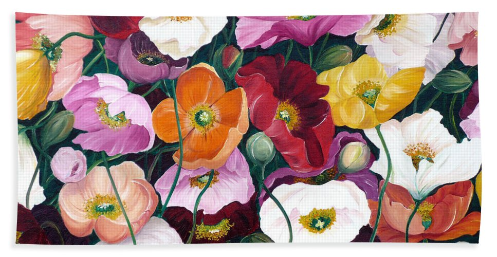 Flower Painting Floral Painting Poppy Painting Icelandic Poppies Painting Botanical Painting Original Oil Paintings Greeting Card Painting Bath Sheet featuring the painting Cascade Of Poppies by Karin Dawn Kelshall- Best