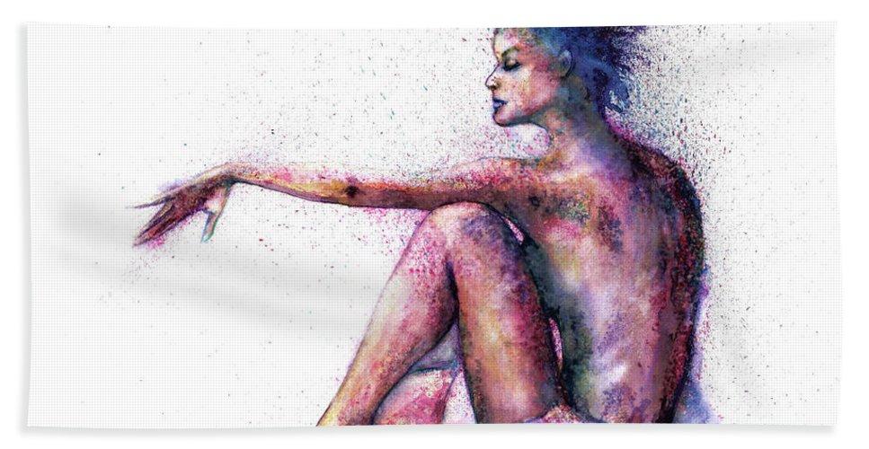 Woman Bath Towel featuring the painting Cat original oil painting by Natalja Picugina