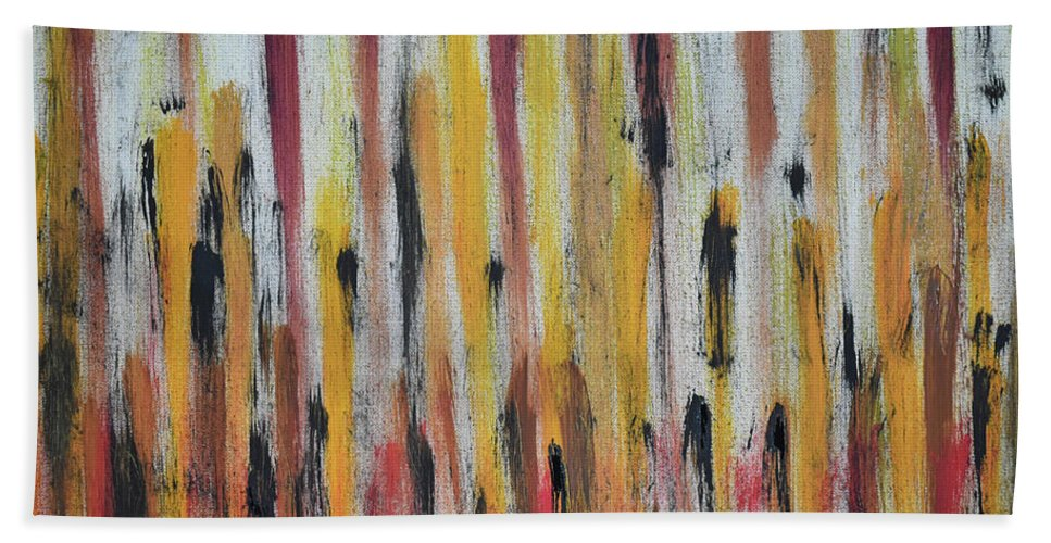 Red Bath Towel featuring the painting Cattails at Sunset by Pam Roth O'Mara