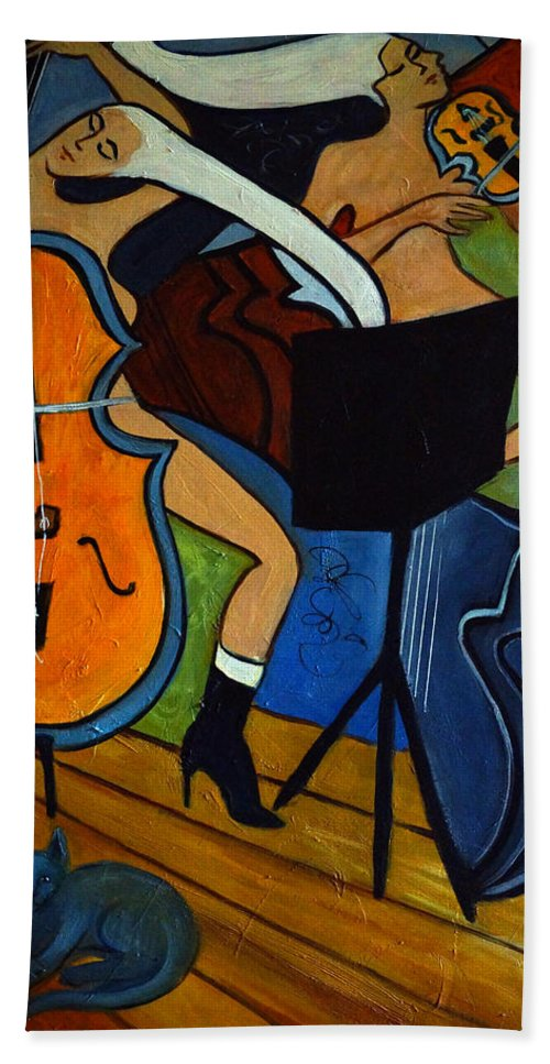 Cubic Abstract Bath Sheet featuring the painting Cello Violin Cat by Valerie Vescovi