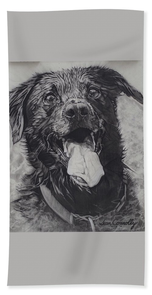 Charcoal Pencil Bath Towel featuring the drawing Charlie Dog by Sean Connolly