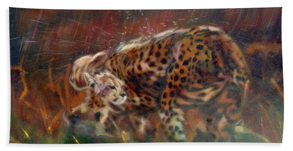 Oil Painting On Canvas Bath Towel featuring the painting Cheetah Family After The Rains by Sean Connolly