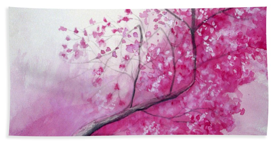 Rick Huotari Hand Towel featuring the painting Cherry Tree In Bloom by Rick Huotari