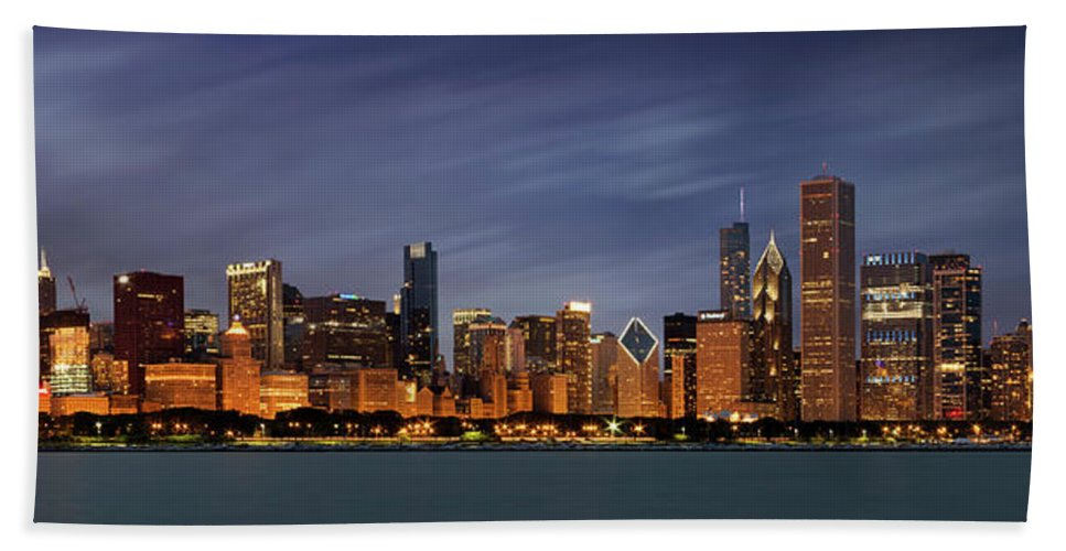 3scape Bath Towel featuring the photograph Chicago Skyline at Night Color Panoramic by Adam Romanowicz
