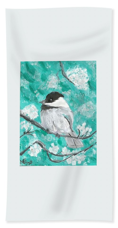 Chickadee Painting Bath Towel featuring the painting Chickadee by Monica Resinger