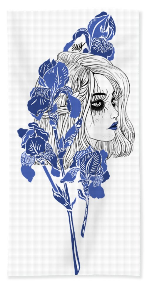 Digital Art Hand Towel featuring the digital art China girl by Elly Provolo