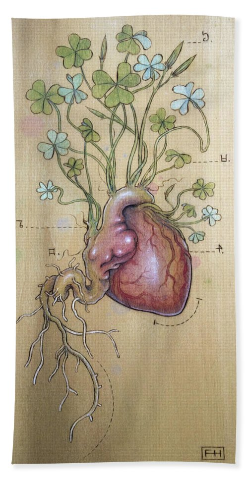 Clover Bath Towel featuring the pyrography Clover Heart by Fay Helfer