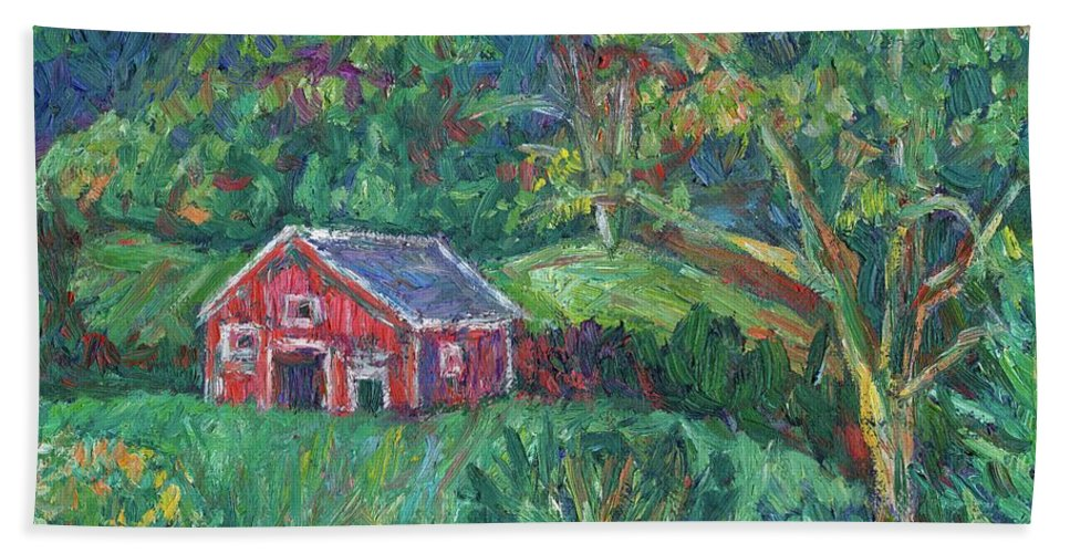 Rural Bath Towel featuring the painting Clover Hollow in Giles County by Kendall Kessler