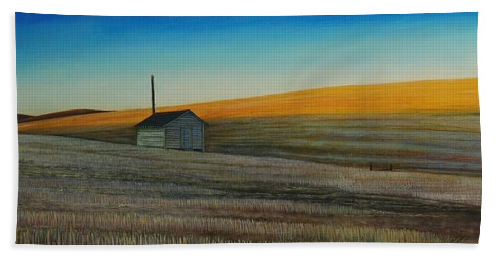 Wheat Hand Towel featuring the painting Cold Field at Dusk by Leonard Heid