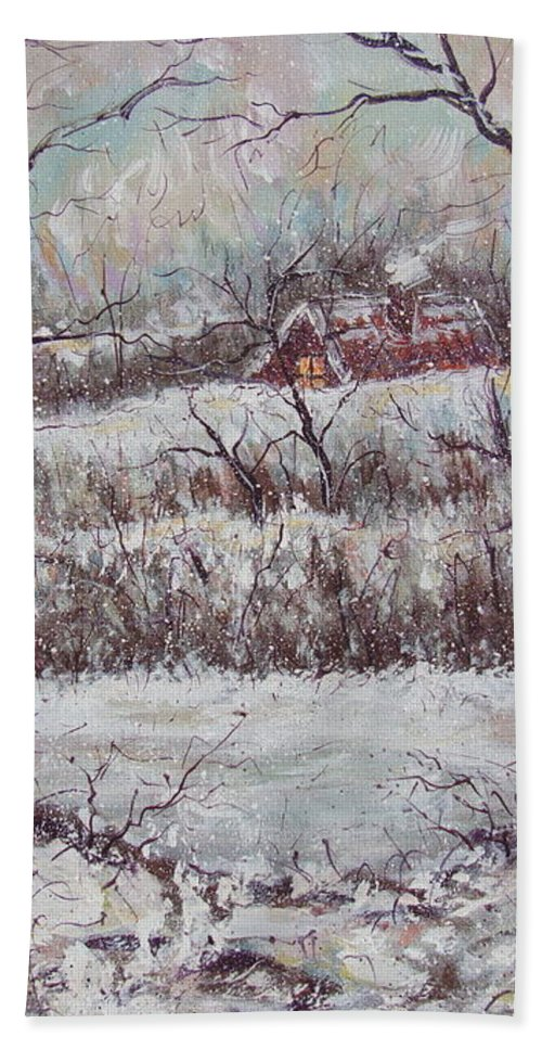Landscape Bath Sheet featuring the painting Cold Winter by Natalie Holland