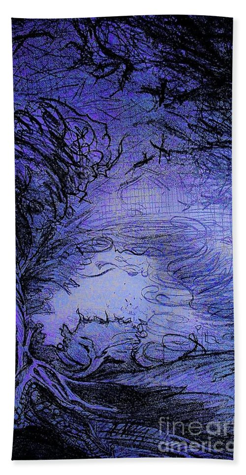 Bath Sheet featuring the drawing Color of Night by Judy Henninger