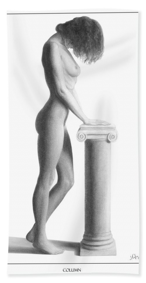 Print Hand Towel featuring the drawing Column by Joseph Ogle