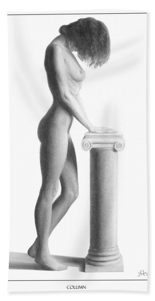 Print Bath Sheet featuring the drawing Column by Joseph Ogle