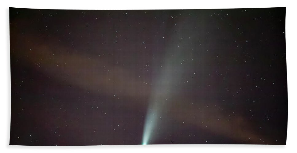 Comet Bath Towel featuring the photograph Comet Neowise by Nunzio Mannino