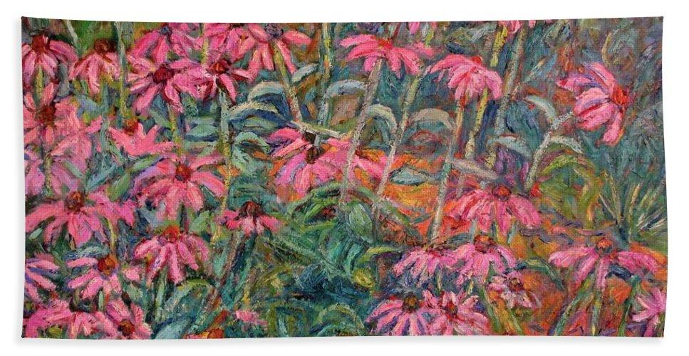 Kendall Kessler Bath Sheet featuring the painting Coneflowers by Kendall Kessler