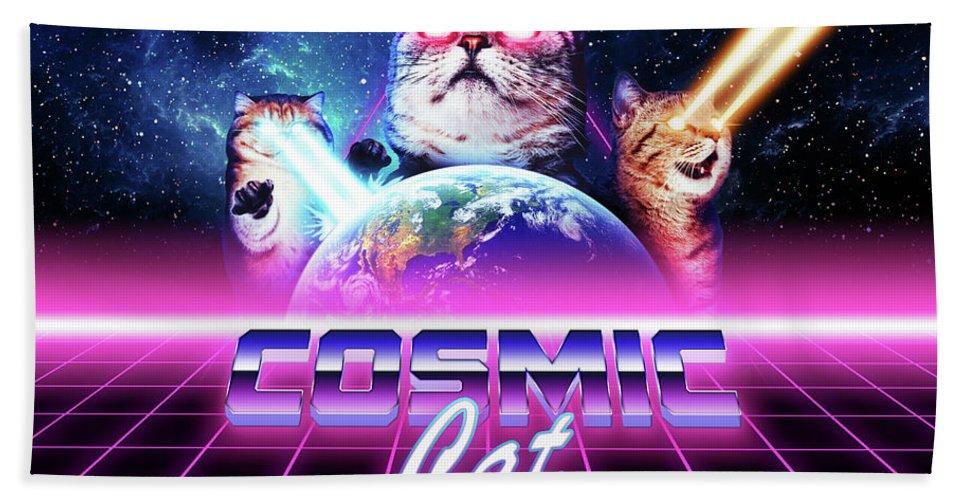 Cat Bath Towel featuring the digital art Cosmic cat by Alex Goljakov