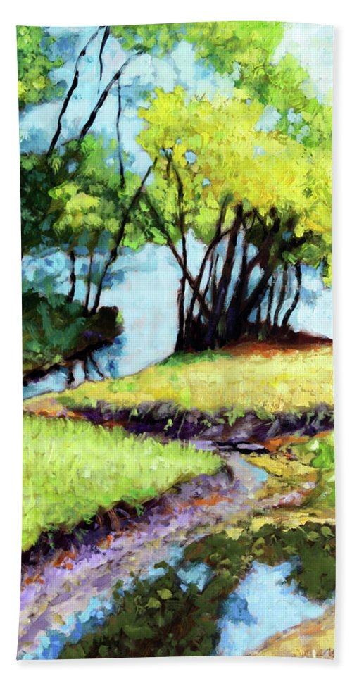 Trees Bath Towel featuring the painting Creve Coeur Stream by John Lautermilch