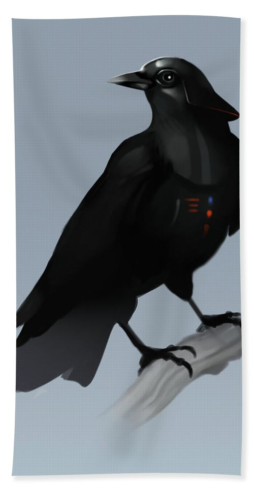 Birds Bath Towel featuring the digital art Crow Vader by Michael Myers