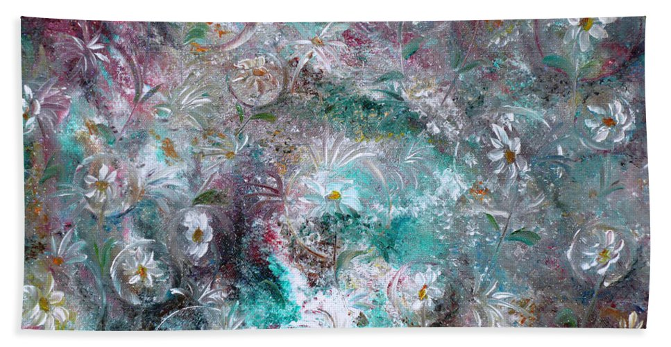 Original Flower Abstract Painting Bath Sheet featuring the painting Daisy Dreamz by Karin Dawn Kelshall- Best