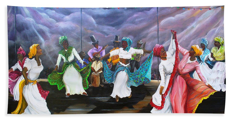 Caribbean Painting Original Painting Folklore Dance Painting Trinidad And Tobago Painting Dance Painting Tropical Painting Bath Sheet featuring the painting Dance The Pique by Karin Dawn Kelshall- Best