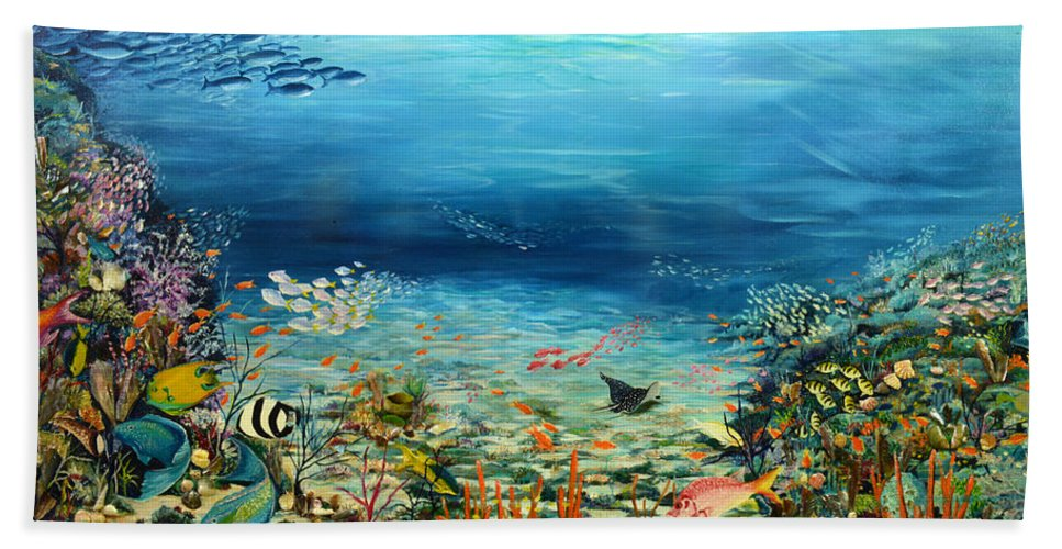 Ocean Painting Undersea Painting Coral Reef Painting Caribbean Painting Calypso Reef Painting Undersea Fishes Coral Reef Blue Sea Stingray Painting Tropical Reef Painting Tropical Painting Bath Sheet featuring the painting Deep Blue Dreaming by Karin Dawn Kelshall- Best