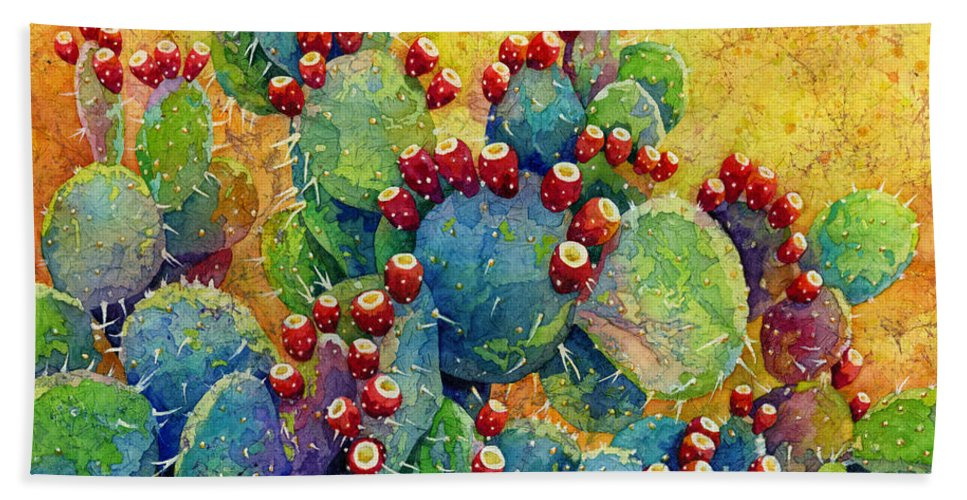 Cactus Bath Towel featuring the painting Desert Gems by Hailey E Herrera