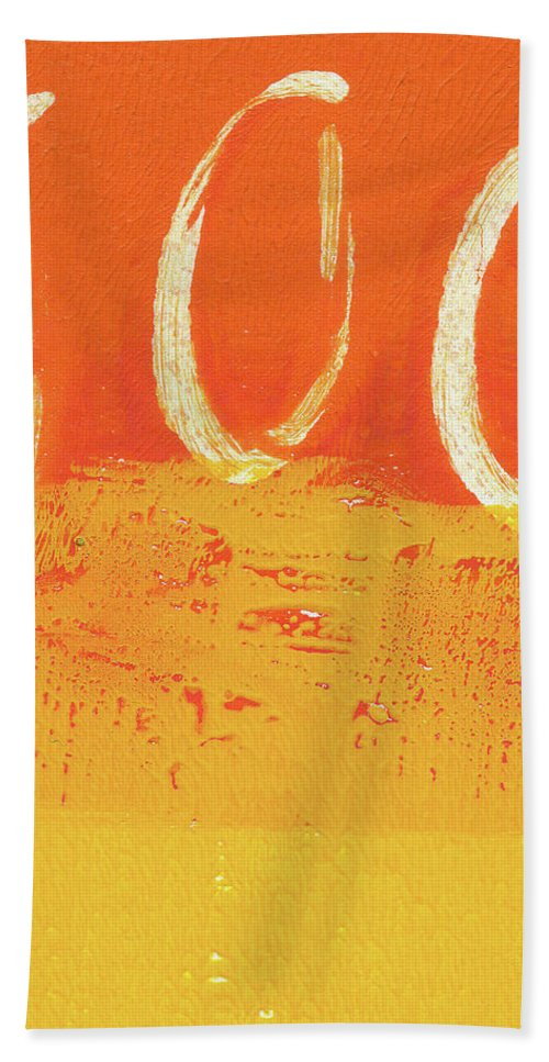 Abstract Hand Towel featuring the painting Desert Sun by Linda Woods