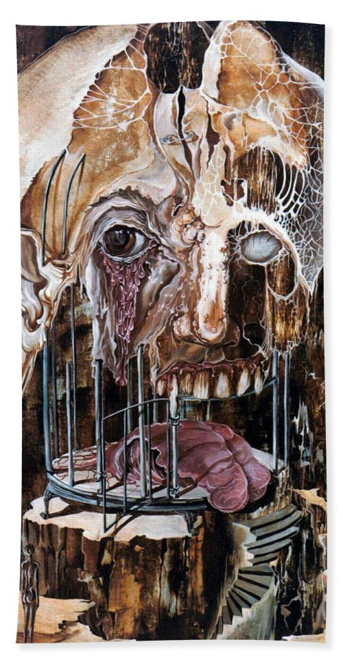 Surrealism Bath Sheet featuring the painting Deterioration Of Mind Over Matter by Otto Rapp