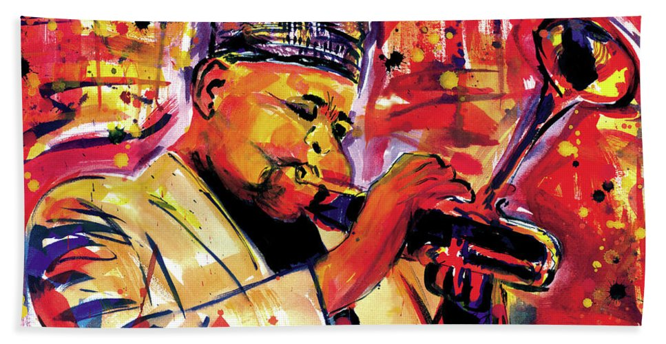 African Mask Hand Towel featuring the painting Dizzy Gillespie by Everett Spruill