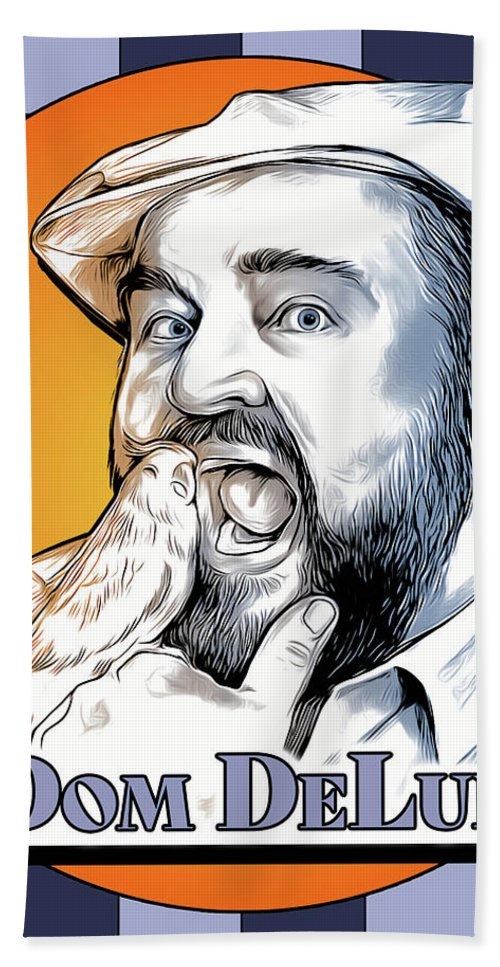Dom Deluise Bath Towel featuring the digital art Dom and the Bird by Greg Joens