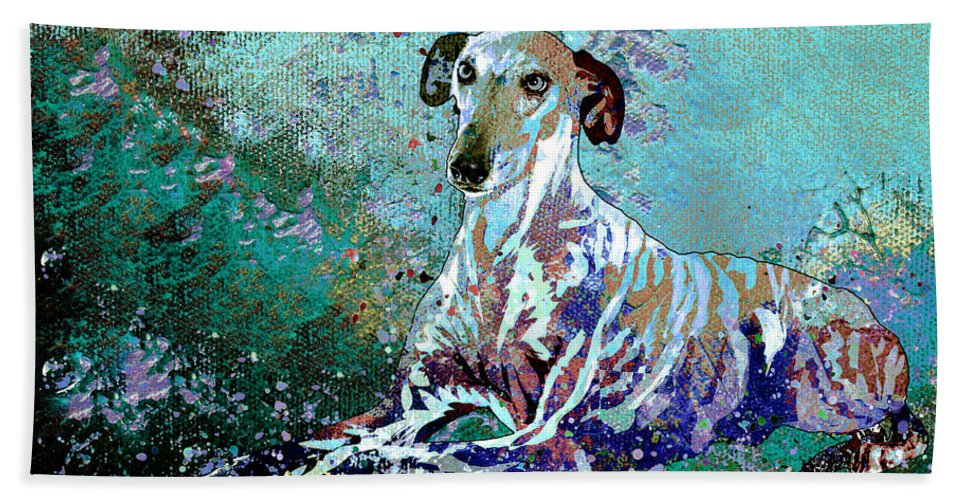 Dog Hand Towel featuring the painting Don Galgo De La Mancha Artistically Yours by Miki De Goodaboom