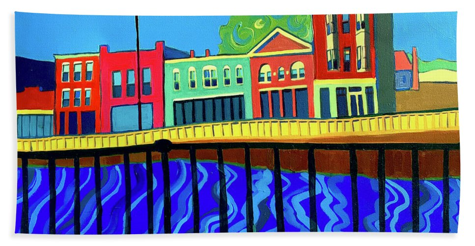 Cityscape Hand Towel featuring the painting Dutton Street by Debra Bretton Robinson