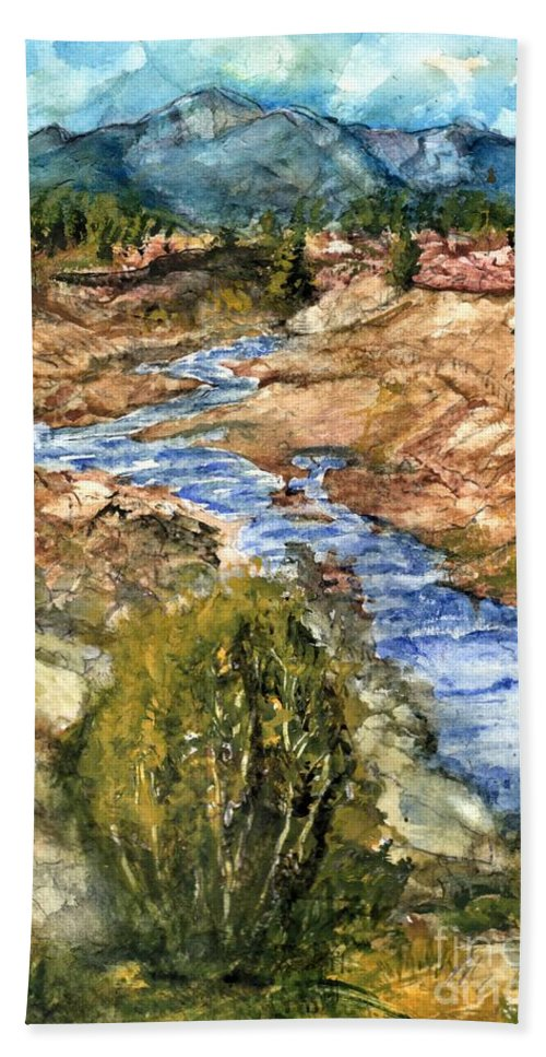 California Bath Towel featuring the painting Eaton Canyon High Desert Creek by Randy Sprout