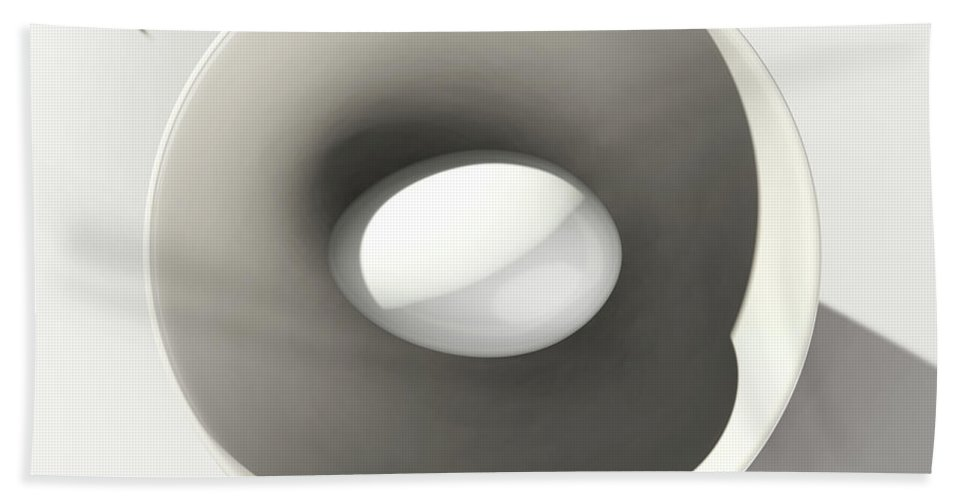 Egg Hand Towel featuring the digital art Egg and Bowl after Cesare Onestini by Heike Remy