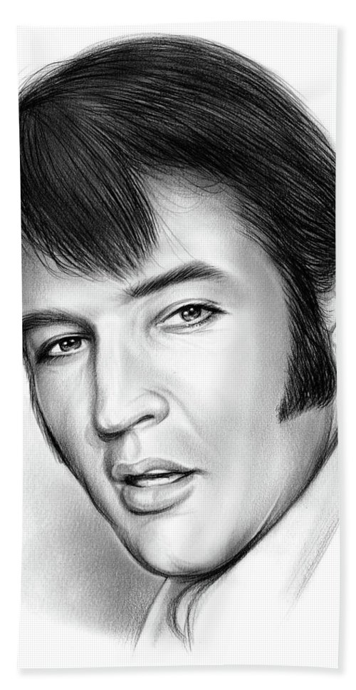 Elvis Presley Bath Towel featuring the drawing Elvis 3 by Greg Joens