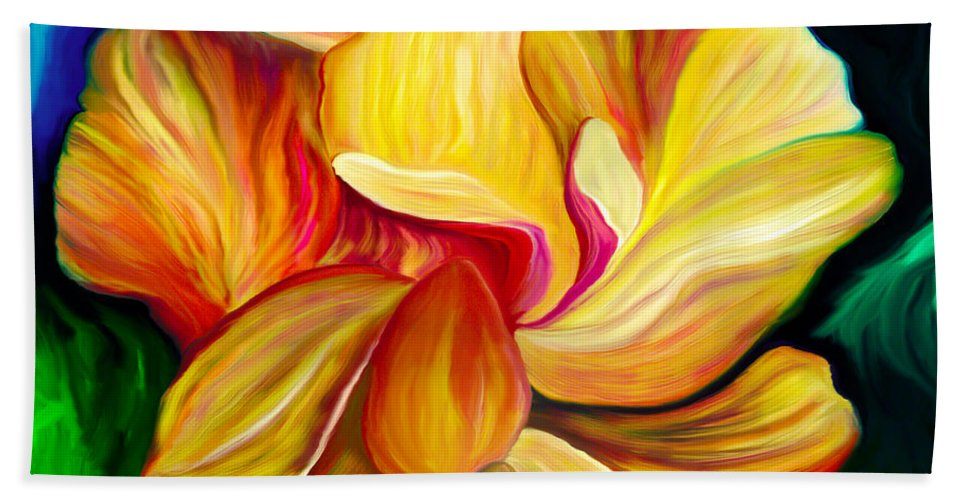Hibiscus Painting Bath Towel featuring the painting Emergence II by Patricia Griffin Brett