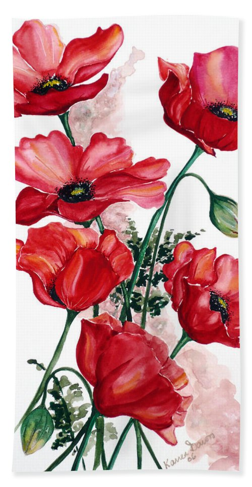 Original Watercolor Of English Field Poppies Painted On Arches Watercolor Paper Bath Towel featuring the painting English Field Poppies. by Karin Dawn Kelshall- Best