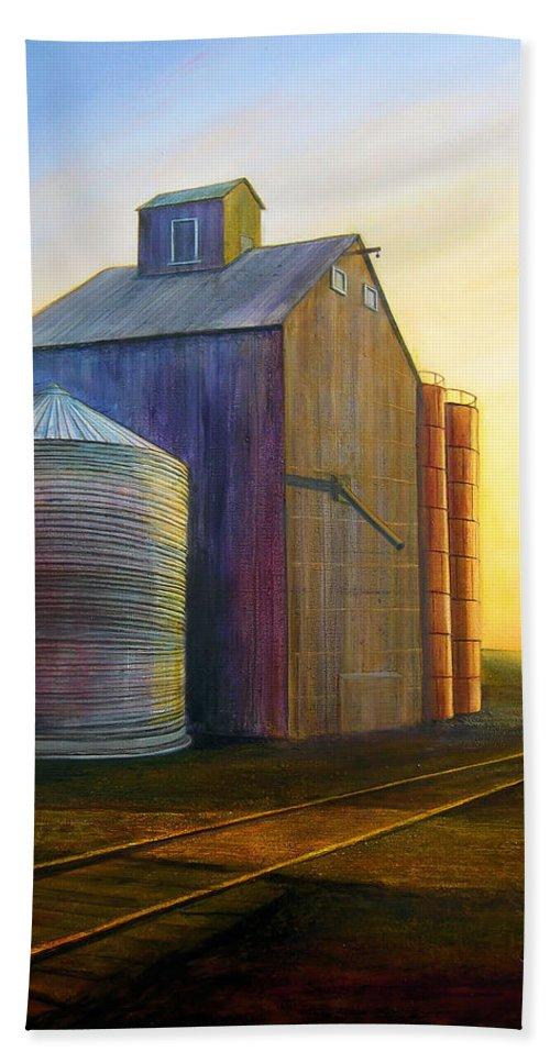 Silos Hand Towel featuring the painting Estes Road Twilight by Leonard Heid