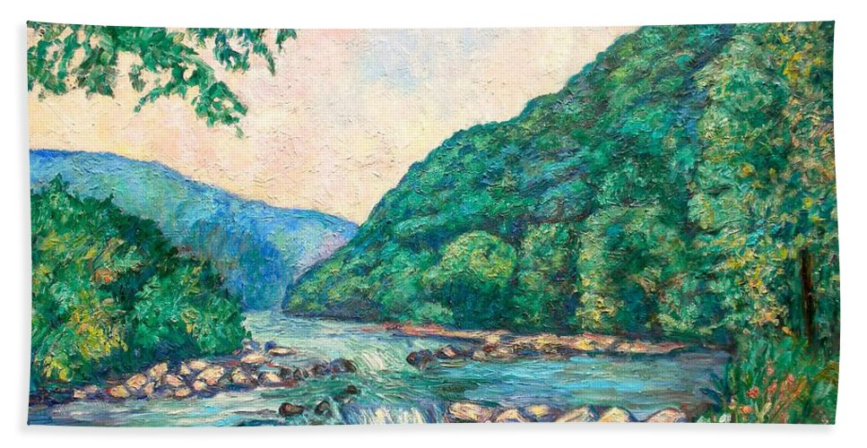 Landscape Bath Sheet featuring the painting Evening River Scene by Kendall Kessler