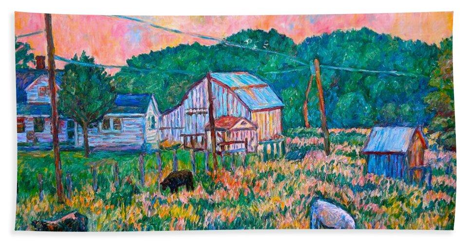 Landscape Bath Towel featuring the painting Farm Near Fancy Gap by Kendall Kessler