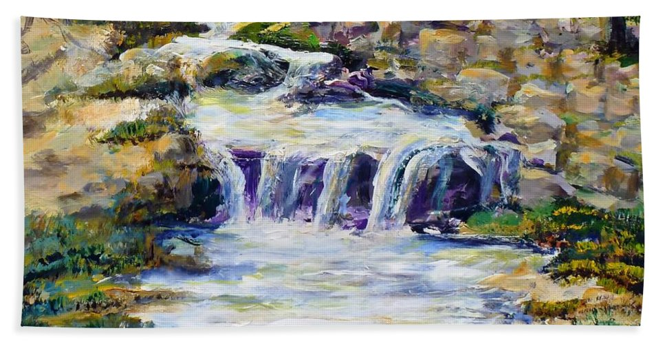 Los Angeles Bath Towel featuring the painting Fern Dell Creek Noon by Randy Sprout