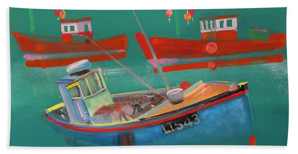 Fishing Bath Towel featuring the painting Fishing Boats at Walberswick by Charles Stuart