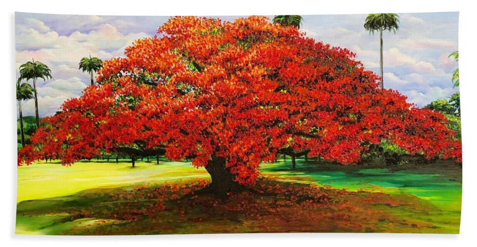 Flamboyant Tree Hand Towel featuring the painting Flamboyant Ablaze by Karin Dawn Kelshall- Best