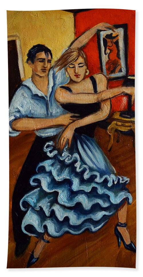 Dancers Hand Towel featuring the painting Flamenco by Valerie Vescovi